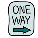 one, road, sign, street, transportation, way icon
