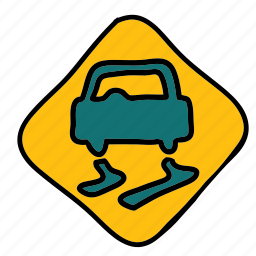 caution, road, safety, sign, slippery, transportation icon