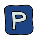 parking, road, street, transportation, vehicle icon