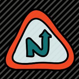 caution, indicator, road, sign, street, transportation icon