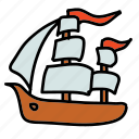 flags, ocean, pirates, sea, ship, transportation icon