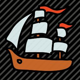 flags, ocean, pirates, sea, ship, transportation icon