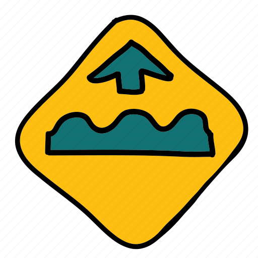 bumps, caution, safety, sign, speed, transportation icon
