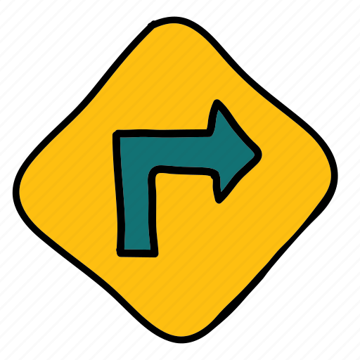 right, road, sign, street, transportation, turn icon