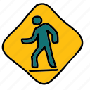 figure, path, street, transportation, walk, zebra icon