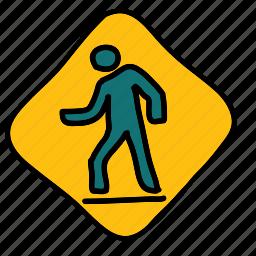 figure, path, street, transportation, walk, zebra icon