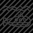 marine, military, nautical, submarine, transport, underwater, vehicle icon