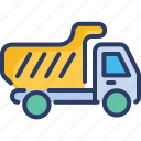 construction, dump, garbage, lorry, tipper, truck