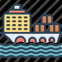 cargo, cargo ship, container, ocean, ship, transport