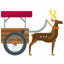 deer, pulled, reindeer, rheindeer, sled, transportation icon