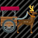 pulled, sled, rheindeer, deer, reindeer, transportation