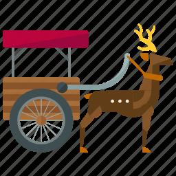 deer, pulled, reindeer, rheindeer, sled, transportation icon