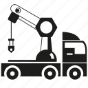 construction equipment, crane, hook, transport, truck, vehicle icon