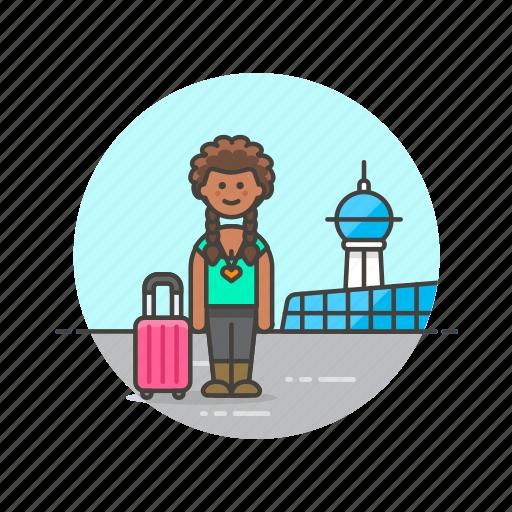 air, airport, baggage, passenger, transit, transportation, travel, woman icon