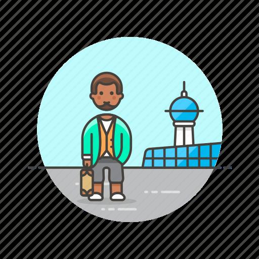 air, airport, man, passenger, transit, transportation, travel icon
