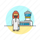 air, airport, arab, man, passenger, transit, transportation, travel icon
