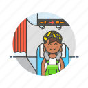 air, cabin, fly, passenger, transit, transportation, travel, woman icon