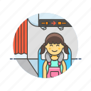 air, cabin, fly, passenger, plane, transit, transportation, woman icon