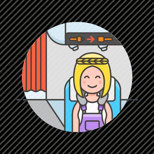 air, cabin, passenger, plane, transit, transportation, travel, woman icon