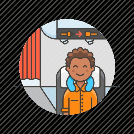 air, cabin, fly, man, passenger, transit, transportation, travel icon