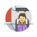 air, cabin, fly, man, passenger, transit, transportation, travel icon