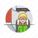 air, cabin, man, passenger, plane, transit, transportation, travel icon