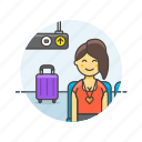 air, baggage, passenger, transit, transportation, travel, woman icon
