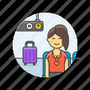 air, passenger, transit, transportation, baggage, travel, woman