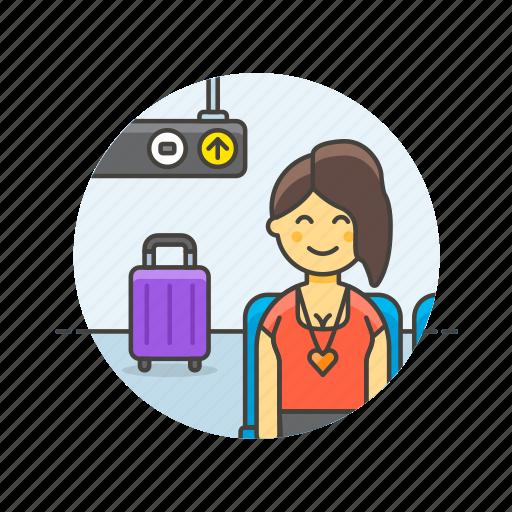 air, baggage, passenger, transit, transportation, travel, woman icon