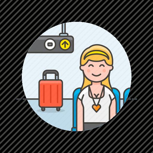 air, baggage, fly, passenger, transit, transportation, travel, woman icon