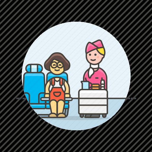 air, drink, flightcrew, passenger, service, transit, transportation, woman icon