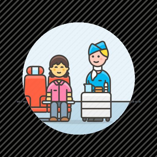 air, drink, flightcrew, hostess, passenger, service, transit, transportation icon