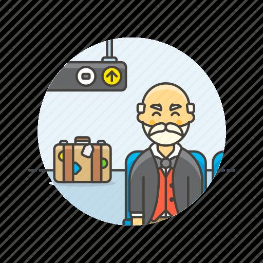 air, baggage, man, passenger, plane, transit, transportation, travel icon