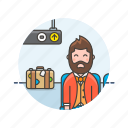 air, baggage, man, passenger, plane, transit, transportation, travel icon