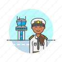 air, captain, fly, plane, tower, transit, transportation, woman icon