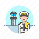 air, captain, plane, profession, tower, transit, transportation, woman icon