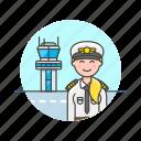 air, captain, caucasian, female, plane, tower, transit, transportation icon
