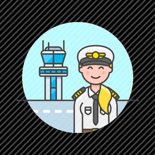 air, captain, plane, profession, tower, transit, transportation, woman icon