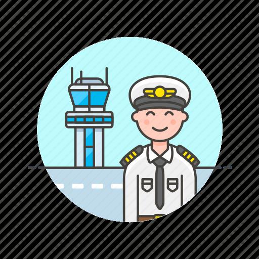 air, captain, fly, man, plane, tower, transit, transportation icon
