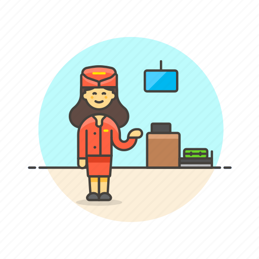 air, airport, check, in, officer, passenger, transportation, woman icon