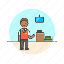 air, airport, check, in, man, officer, passenger, transportation icon