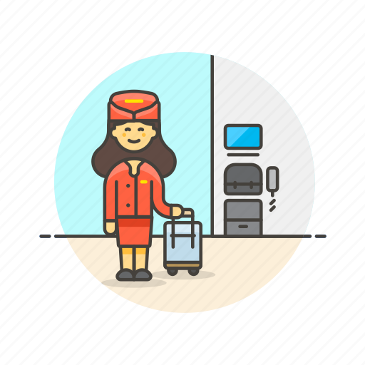 air, cabin, crew, flightcrew, fly, hostess, transportation, woman icon