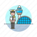 air, airport, captain, fly, plane, transportation, travel, woman icon
