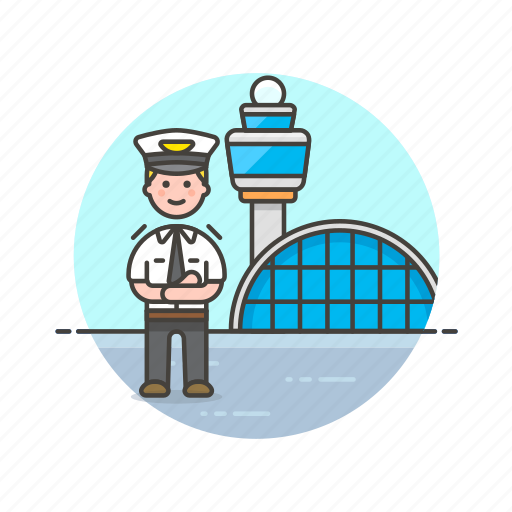 air, airport, captain, fly, man, plane, profession, transportation icon