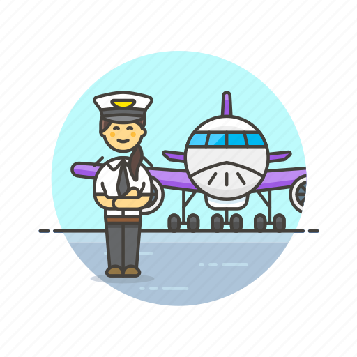 air, captain, fly, plane, profession, transportation, travel, woman icon