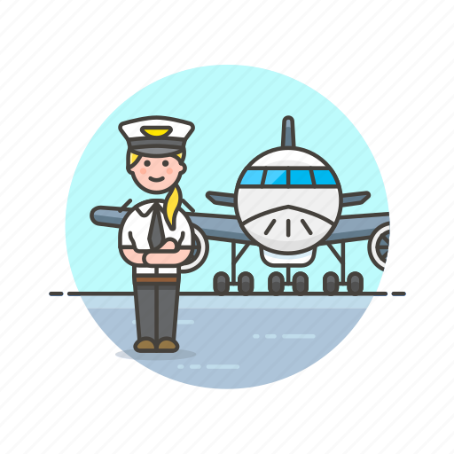 air, captain, fly, plane, transportation, travel, woman icon