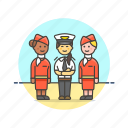 air, captain, flightcrew, fly, hostess, plane, transportation icon