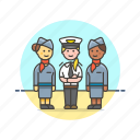 air, captain, flightcrew, fly, hostess, plane, transportation, travel icon