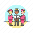air, captain, flightcrew, fly, hostess, man, plane, transportation icon