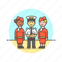 air, captain, flightcrew, hostess, man, plane, transportation, travel icon